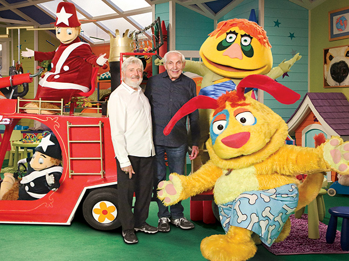 Marty (left) and Sid Krofft with H.R. Pufnstuff characters on the set of Mutt & Stuff
