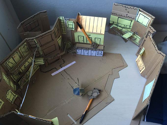 A cardboard set helped Aardman visualize a 360-degree story