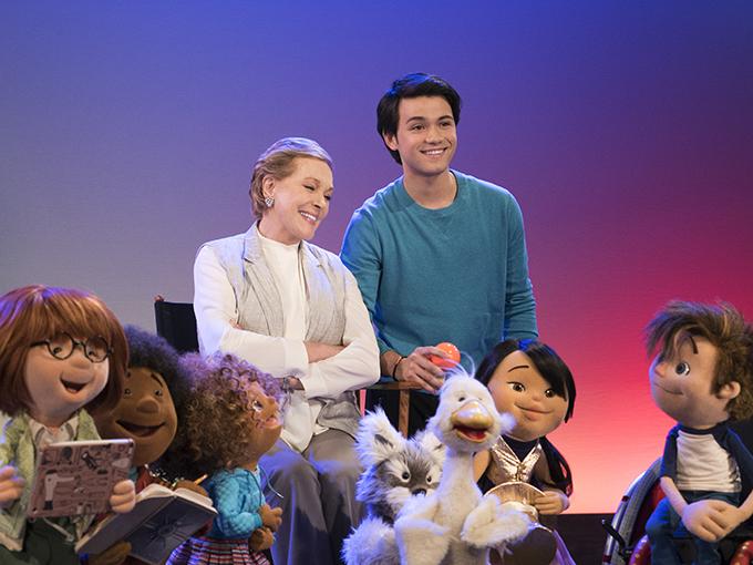 From left; Yomo, Bingo, Fizz, Julie Andrews, Gus (Guillian Yao Gioiello), Toby, Hugo, Nimble and Hank. (Photo: Ali Goldstein/Netflix)