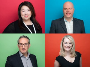Clockwise: Anne Loi (top left), Josh Scherba, Steph Betts and Ken Faier all have new posts at DHX Media