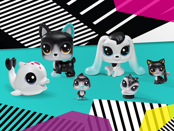 Hasbro's Littlest Pet Shop line is introducing new sizes and collections—like Black & White Style—to ensure the brand stands out on shelf