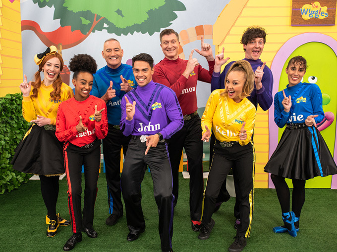 The Wiggles members. From top row far left to bottom row far right:  Emma Watkins, Anthony Field,